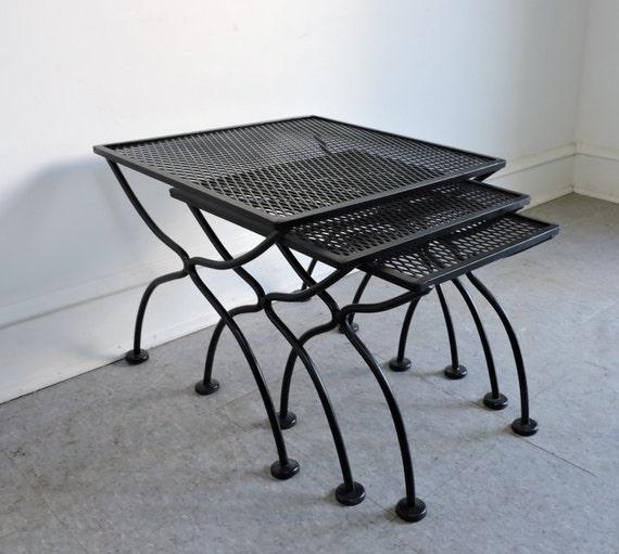 Salterini wrought iron nesting side patio tables mid century