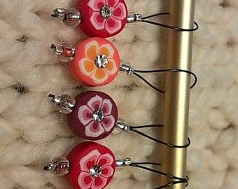 Rhinestone Flower Snag Free Stitch Markers (6)