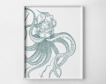 Scuba Octopus Print, Nautical Octopus, Octopus Bathroom Decor, Octopus Art, Scuba Art, Nautical Poster, Nautical Print, Nautical Decor, 0479