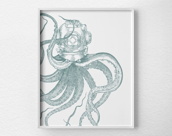 scuba octopus print nautical octopus octopus bathroom decor