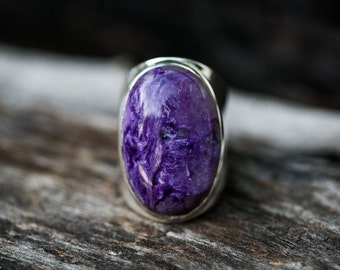 Charoite Ring - Charoite and Sterling Silver Ring size 9 - Siberian Charoite - Genuine Charoite Ring - Sterling Silver and Charoite