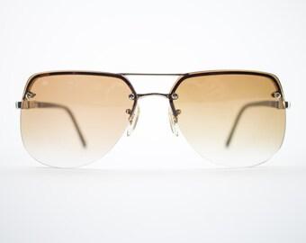 Vintage Sunglasses | Gold Aviator Sunglasses | Oversize Amber Brown Lenses | 1970s Sunglasses | Vintage Deadstock - Aspen Yellow