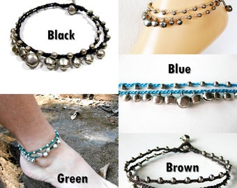 Silver Bells Anklet Waxed Cotton Cord, Bohemian, Anklets Handmade Thailand Jewelry. (JA1009)