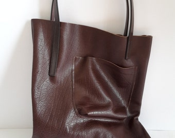 Brown Leather Tote \\ Oversized Tote Bag \\ Leather Tote \\ Leather Handbag \\ Leather Purse