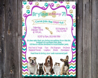Pet - Animal Shelter Donation Invitation - Pet Party Invite, Any Age, Any Colors!