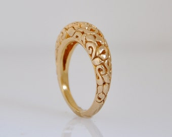 Yellow Gold Band , Gold Wedding Band , Fine Jewelry Ring , Wide gold Band Ring , Gold Ring, 14k gold band , Unique Gold Ring, Engraved Ring