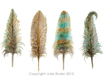 Feathers PRINT Browns Teal