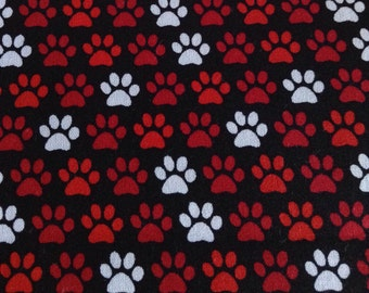 One Half Yard of Fabric Material - Paw Print on Black