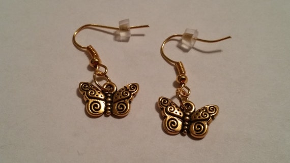 Gold butterfly earrings, gold earrings, butterfly dangle earrings, butterfly jewelry, handmade jewelry, gifts for her, gold earrings