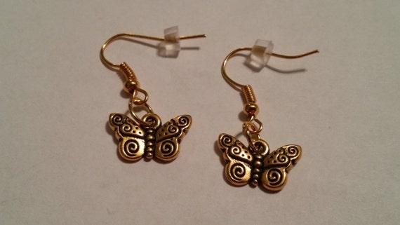 Gold butterfly earrings, gold earrings, butterfly dangle earrings, butterfly jewelry, handmade jewelry, gifts for her, gold earrings