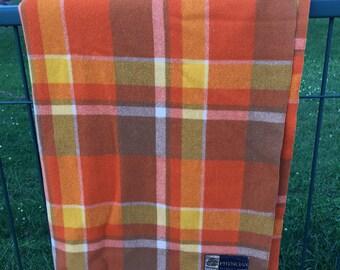 Vintage Woollen Blanket Orange Australian Woollen   Blanket- Onkapringa blanket-