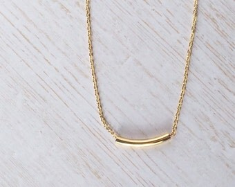 Delicate curved gold bar necklace, gold chain, small gold bar