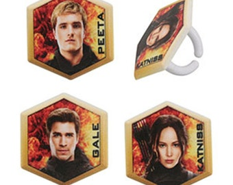 24 The Hunger Games Mockingjay Part 2 Cupcake Rings Cake Decor Toppers