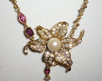 Stunning Vintage Amethyst and Clear Rhinestone Designer Necklace