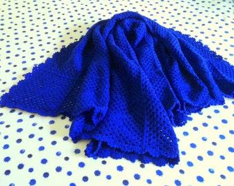 Handmade Royal Blue Crochet Blanket / Throw Blanket