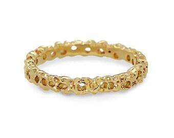 CORAL Wedding Band, Yellow Gold Wedding Band Ring, Men's Wedding Band, Thin Women's Wedding Band, Organic Ring