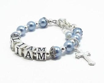 Baptism Gift for Boy, Baby Boy Bracelet, Baby Jewelry, Christening Bracelet, Baby Shower Gift, Baby Boy, Baby Name Bracelet, Baby Blue (B120