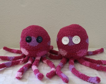 Handcrafted Plush Fuzzy Sock Octopus - Purple