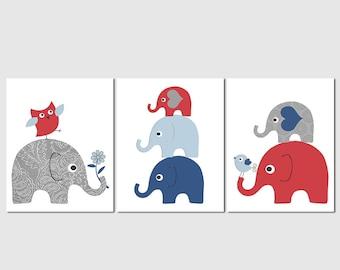 Navy blue and red elephant baby boy print set, Nursery Art Print Set, baby boy wall art , owl, bird, flower, stacked elephants  -UNFRAMED