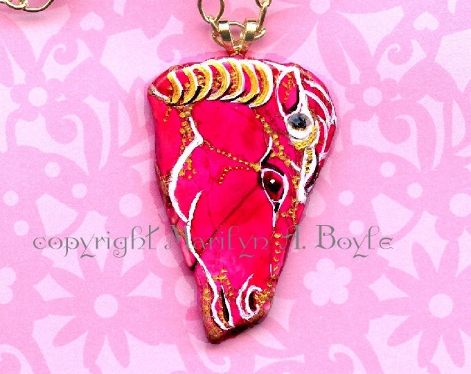 HAND PAINTED PENDANT, Stone, deep rose pony, Swarovski crystal, wearable art, original art, jewelry, necklace, pendant, for her, 26 inches