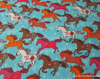 Flannel Fabric - Colorful Running Horses - 1 yard - 100% Cotton Flannel