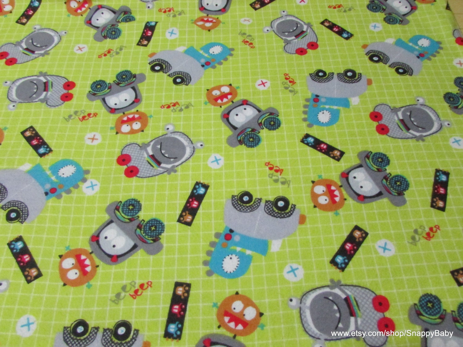 Flannel fabric beep beep monster by the yard 100 for Baby monster fabric