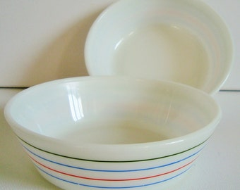 Pyrex breakfast bowls set of 2 dishes stripes design
