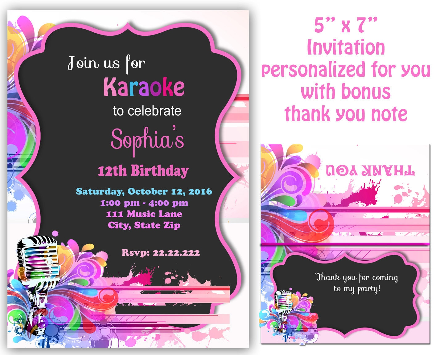 Karaoke invitation Karaoke Party Invitation Karaoke
