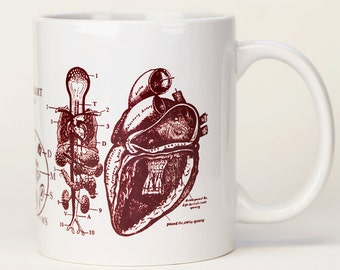 Anatomical Heart Mug | Ceramic Coffee Mug, Cardiac, Cardiology, Nurse Gift, Nursing, Greys Anatomy, Science Biology, medical illustration