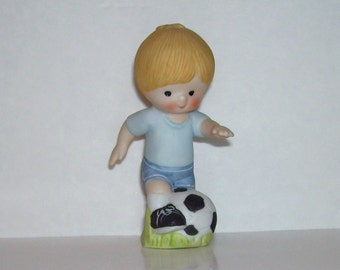 Enesco Country Cousins Scooter Soccer Player Figurine