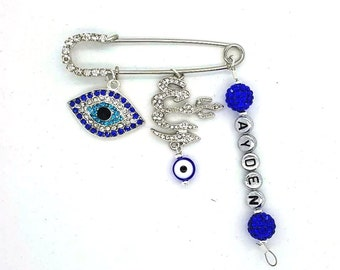 Allah stroller pin, evil eye baby pin, allah charm, baby safety pin, baby shower gift, unique baby gift, personalized gift, muslim baby pin