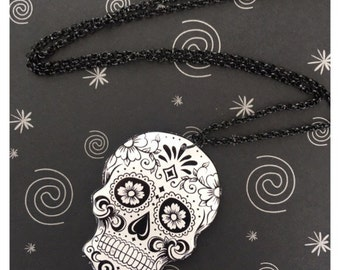Black and White Sugar Skull Acrylic Character Charm Necklace