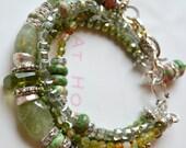 ON SALE green garnet bracelet, peridot bracelet, garnet  bracelet, bohemian bracelet, bold bracelet, boho chic bracelet, green bracelet