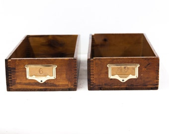 Vintage Wooden File Drawers with Brass Handles