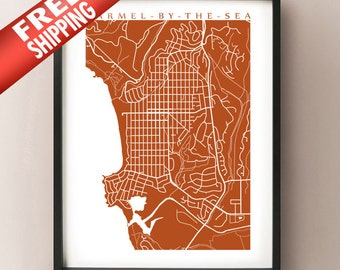 Carmel-By-The-Sea Map Print - California Poster