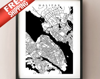 Halifax Map -  Black and White Wall Art
