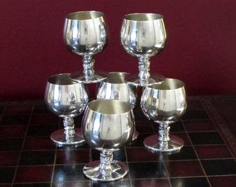 Plator Silver Plated Brandy Snifter Goblet Set of 6