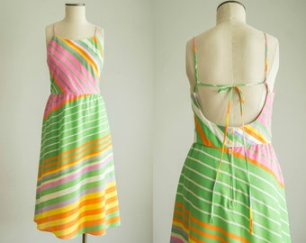 vintage 1970s dress / 70s backless sun dress / medium / 41 Flavors Dress