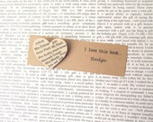 To Kill a Mockingbird badge: heart shaped brooch made with original book pages. Gift idea for best friend, book lover, girlfriend, Valentine