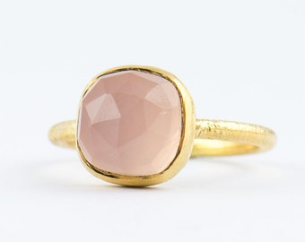 Pink Chalcedony Gemstone Ring - Pink Chalcedony Bezel Ring - Pink Gold Ring - Handmade in Sterling Silver - Size 3 4 5 6 7 8 9