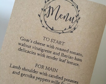 Wedding menu cards - rustic wedding menu cards - kraft wedding menu cards