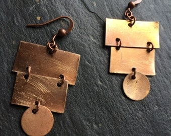 Copper chandelier earrings