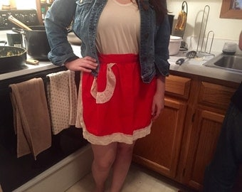Red Apron w/ Lace