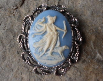2 in 1 -  Goddess Diana, The Huntress with Dog Cameo Brooch/Pin/Pendant Beautiful Detail and Great Quality, Woods, Forest
