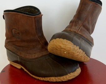 Men's Sorel Cheyanne Leather Ankle boot no lace Slip on Insulated Removable Liner