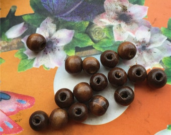 Wholesale 100pcs 8mm brown round wood beads findings--hole 3mm