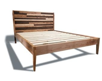 mid century modern platform bed frame and headboard