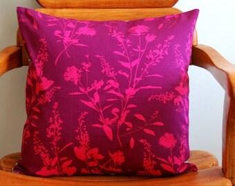 "Fuschsia envelope pillow, fuchsia pillow cover, modern pillow, with Joel Dewberry fabric, 16"" pillow cover"