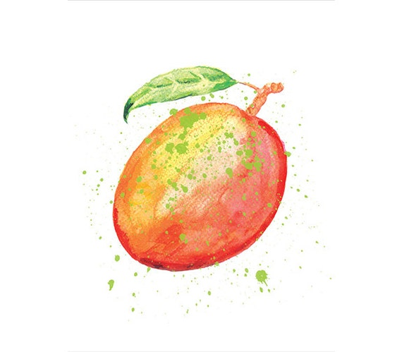 Decorating With Colors Mango: Watercolor Mango Painting Home Decor Botanical Watercolor