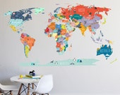 World Map interactive map  - WALL DECAL